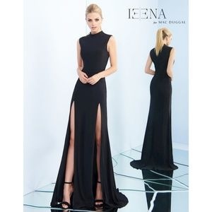 Ieena by Mac Duggal High Neck Slit Dress in Black